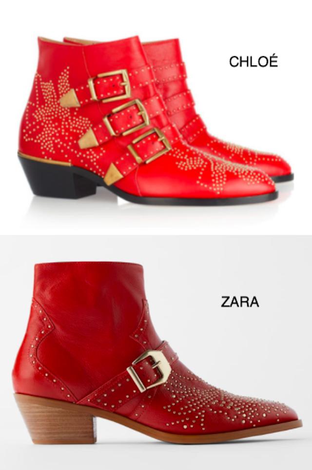 clones - botines rojos - chloé - Zara