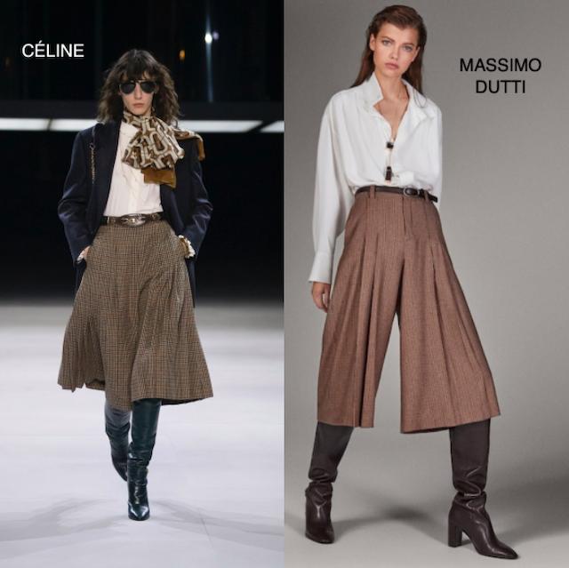 clones _ pantalon culotte celine-massimo dutti _ capa de Céline-Zara
