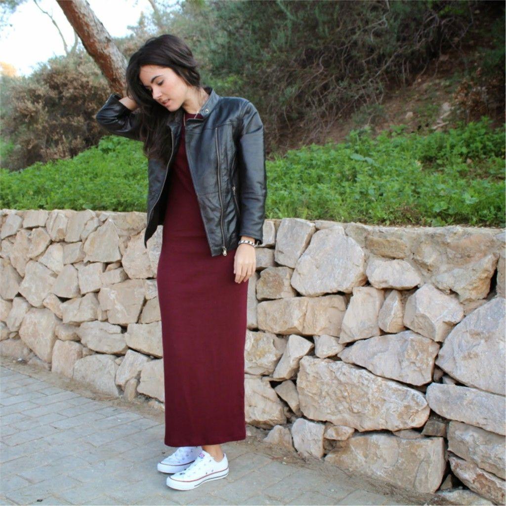 Vestido largo y converse