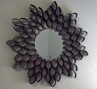 Las mejores ideas para reciclar rollos de carton for Como decorar un espejo sin marco